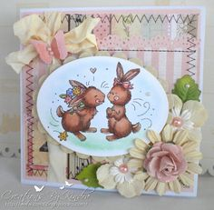 Sweet Handmade Easter Card Love Bunnies by KindrasCreations, $5.49