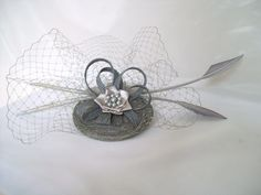 dove gray and turquoise wedding | shades grey kitty product no id239 this pewter grey kitty fascinator ...