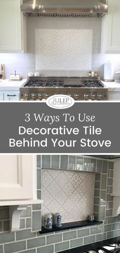 Using decorative tile, as an accent, behind the stove, is a popular way to introduce pattern & color in your kitchen. In fact, we had so many phone calls about this that we created a full line of precut Decorative Tile Inserts. So, let's break down the most common ways clients use decorative tile over the stove, & how to know which one might work best for you!