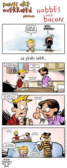 calvin hobbes and bacon. Could not love this more. :3 I <3 how Susie and Calvin are married