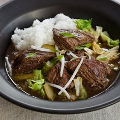 Slow Cooker Korean Beef Stew with Napa Cabbage and Pickles Recipe - Key Ingredient #slowcooker #healthy