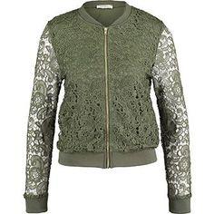 Olive Lace Bomber Jacket