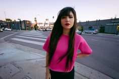 @leblogdebetty of Le Blog de Betty toughens up a Nasty Gal Hot Pink Neoprene Tee with Leather || That top: http://www.nastygal.com/clothes-tops/tiffany-tee?utm_source=pinterest&utm_medium=smm&utm_term=ngdib&utm_content=nasty_gals_do_it_better&utm_campaign=pinterest_nastygal  ||  #NastyGalsDoItBetter > http://www.leblogdebetty.com/almost-night/