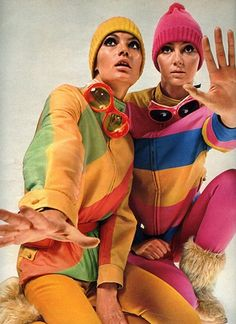 Vintage Ski Ensembles - Ah, the 60s - this may be where my love of color comes from?