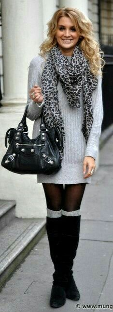 Cute outfit. Sweater dress. Boots and socks. Terrible bag.