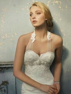 Sexy Sheer Halter Lace Beaded Wedding Dress on We Heart It Bridal Dresses, Wedding Gowns, Lace Wedding, Spring Wedding, Elegant Wedding, Lace Bodice, Tulle Lace, Dress Lace, Beautiful Gowns