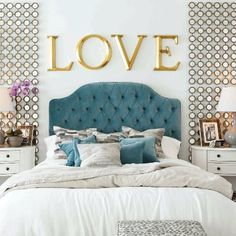 love the mirrored circles beside the bed