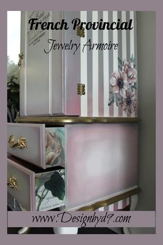 I Upcycled this French Provincial Jewelry Armoire using chalk paint, decoupage and furntiure transfers. Armoire Makeover, Furniture Makeover, Diy Furniture, Diy Home Crafts, Diy Home Decor, Repurpose, Reuse, How To Make Diy Projects, Diy Interior