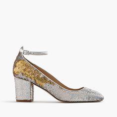 "Meet Sophia: what happens when your favorite pair of ballets gets a (very walkable) chunky heel. Better yet, they're made entirely in Italy, and finished in party-perfect sequins. <ul><li>2 1/2"" heel.</li><li>Sequin upper.</li><li>Leather lining.</li><li>Man-made sole.</li><li>Import.</li><li> Select stores.</li></ul>"
