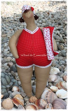 #tilda doll at the #beach - She's lovely. Very neat sewing.