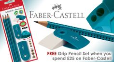 Faber-Castell Grip 2001 Pencil Set with Sharpener and Eraser