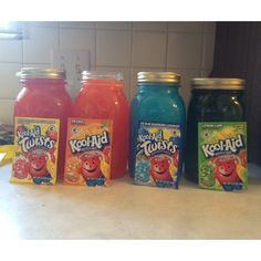 Homemade snow cone flavoring made from koolaid.  4 cups of sugar  2 cups of water 2 packs of koolaid flavor.  Mix water and sugar in a pan and being to boil . Let boil for one minute then remove off heat, add koolaid mix and stir together . Pour into mason jar and let cool. :) enjoy!!!