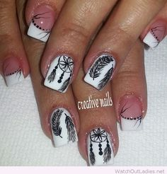 White nails with boho details