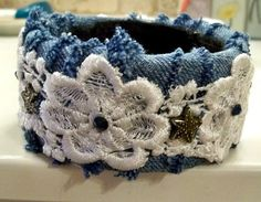 Denim and lace bangle bracelet recycled bangle boho by Georgiasita, $22.00