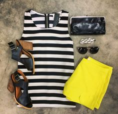 Right Stripe Tank | Life Gives You Lemons Shorties | Black Hobo Wallet | Very Volatile 'Cagney' Sandal | Silver Linked Bracelet | Vintage Sunnies << STAFF FAVORITE!