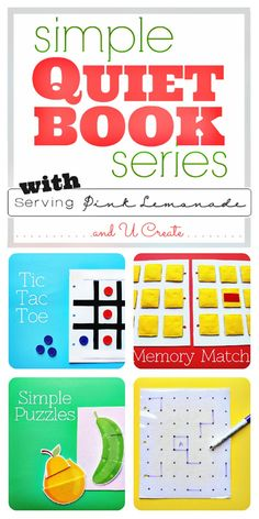 GAMES to entertain the older kids!!  Simple Quiet Book Series and Free Templates!
