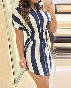 Striped Knotted Back Curve Hem Dress dresses and accessories all over the world at competitive prices, and with a high level of customer care. Maxi Shirt Dress, Sweatshirt Dress, Bodycon Dress, Mode Outfits, Fashion Outfits, Fashion Wigs, Dress Fashion, Style Fashion, Fashion Online