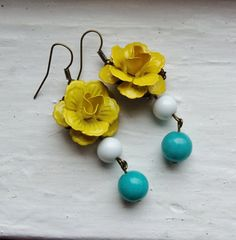 Yellow Flower Earrings Yellow and by lakeshorecreations4u on Etsy, $18.00