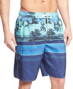 f0c7d434ecb30 Newport Blue Vacation Break Striped Swim Shorts & Reviews - Swimwear - Men  - Macy's