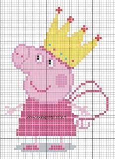 Cross Stitch For Kids, Cross Stitch Baby, Cross Stitch Charts, Cross Stitch Designs, Cross Stitch Patterns, Bobble Stitch Crochet, Crochet Chart, Peppa Pig Family, Stitch Character