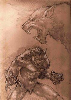 Ferocious werewolf by ArtisticDane on DeviantArt Fantasy Creatures, Mythical Creatures, Art Wolfe, Werewolf Art, Werewolf Origin, Vampires And Werewolves, World Of Darkness, Creatures Of The Night, Creature Design
