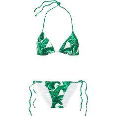 Dolce & Gabbana Printed triangle bikini (1,205 PEN) ❤ liked on Polyvore featuring swimwear, bikinis, bikini, swimsuits, swim, beachwear, jade, bikini swimwear, bikini bathing suits and swimming bikini