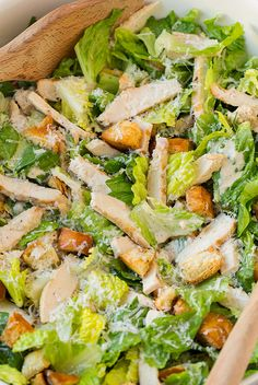 Chicken Caesar Salad with Garlic Croutons and Light Caesar Dressing - This is my go to recipe for Caesar dressing! Skinnier but just as good!