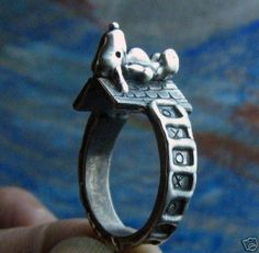 *****RUBEN WILL ADD YOUR NAME OR INITIALS WITH HAND MADE SOLID STERLING SILVER LETTERS****** SNOOPY DOG IS 1/2 INCH LONG BY 1/4 INCH WIDE. small delicate cute ring, not big! THIS IS A GREAT INSPIRATIONAL ACHIEVEMENT. SOOO SMALL AND DIFICULT TO SCULPT. ALL HAND CARVED MADE BY RUBEN A