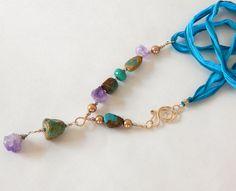 Turquoise Boho Necklace  Gold Swarovski Crystal by BeadIndulgences