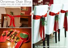 Need some bling for your christmas chairs. Here is the dollar store version to put some bling on your chairs.