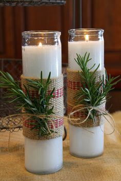 Rosemary Candles: dollar store candles, some burlap/fabric, twine and rosemary. I can do this!!