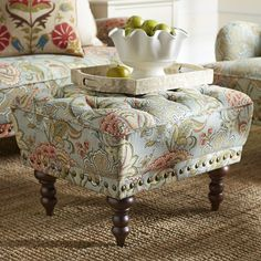Hand-upholstered and tufted, this comfy ottoman is the perfect companion to our overstuffed Chas Chair and Loveseat. Rest your tired dogs (human or canine) or use as extra seating. Leather Chaise Lounge Chair, Outdoor Lounge Chair Cushions, Swivel Chair, Swing Chairs, Leather Chairs, Living Room Chairs, Living Room Furniture, Teal Chair, White Dining Room Chairs
