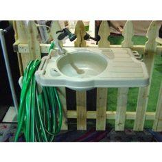 Outdoor Garden Sink System With Large Counter Top Washing Station Hose Storage Outdoor Garden Sink, Outdoor Sinks, Garden Hose, Lawn And Garden, Outdoor Gardens, Garden Tools, Garden Ideas, Backyard Ideas, Garden Water