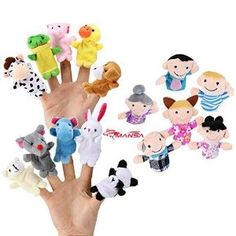 Amazon.com: 16 Pack Finger Puppet Set - MANSA 10 Animals + 6 People Family Members Educational Toys for Children, Story Time, Shows, Playtime, Schools: Toys & Games