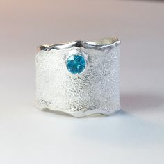 Blue Topaz Wide Silver ring, Blue topaz Solitaire ring foster texture