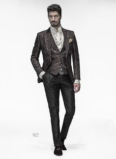 ONGala 1122 - Dress for Groom with Brown Brocade Jacket
