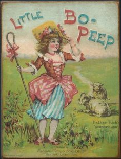 vintage little bo peep illustration from father tuck's nursery land series Vintage Book Covers, Vintage Children's Books, Vintage Cards, Antique Illustration, Illustration Art, Tales For Children, Old Children's Books, Little Bo Peep, Beautiful Book Covers