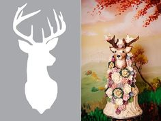 stag's head wedding cake in chocolate by Choccywoccydoodah right, deer silhouette stencil by All Thyme Greatest Christmas Cake Designs, Christmas Cake Decorations, Deer Wedding, Wedding Cake Rustic, Elegant Cake Design, Choccywoccydoodah, Pastel Wedding Colors, Reindeer Cakes, Geek Magazine