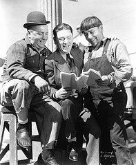 The three Stooge brothers, Moe, Curley, Shemp. Very cool to see them all together.
