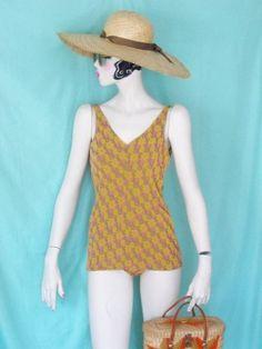 1950's JANTZEN Pink & Chartreuse Swimsuit by GlamorousScavenger, $69.00