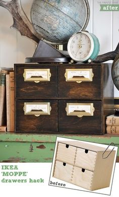 DIY Drawer Makeover. If you were interested in the library look but couldn't find the real thing.
