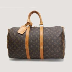 Louis Vuitton Keepall 45 Monogram Handle bags Brown Canvas M41428