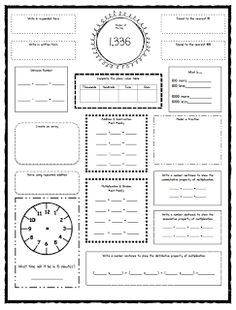 daily math morning work - third grade - includes cursive, grammar ...