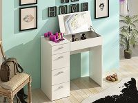Toaletní stolek BELINA, bílá Variable table BELINA Slovak made of white laminate. Convenient workbench can easily be transformed into a mirror dressing table by simply lifting the work surfac White Laminate, Work Surface, Dressing Table, Office Desk, Corner Desk, Drawers, Vanity, Mirror, Modern