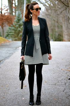 Flying to LA (Black and white striped dress, black tights, black ankle boots, black drapey cardigan) Office Outfits Women, Business Casual Outfits, Professional Outfits, Business Attire, Work Outfits, Fall Fashion Trends, Black Tights, Work Wardrobe, Chic Dress