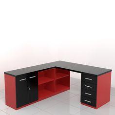 biurko narożne ALFA-NSD black and red Bartnikowski Meble Biurowe