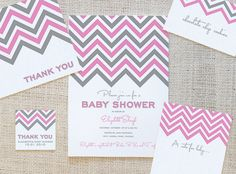 This Chevron Zig Zag Stripe Free Printable Invitation Set includes invitation, notecard, thank you card, food labels/place cards, and favor tag for your event. Both a baby shower option and a birthday party option are now available! Also colors are CUSTOMIZABLE!!!!!
