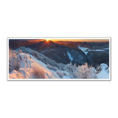 JP London PAN5336 uStrip Sunset Winter Mountain Forest Snow High Resolution Peel and Stick Removable Wall Mural