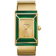 Tory Burch Robinson Watch, Limited Edition, Gold-Tone/Malachite, 38 X... ($697) ❤ liked on Polyvore featuring jewelry, watches, wrist cuff watch, cuff jewelry, stainless steel jewellery, gold tone jewelry and bezel jewelry