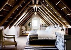 Attic Bedroom, sloped ceiling, exposed beams